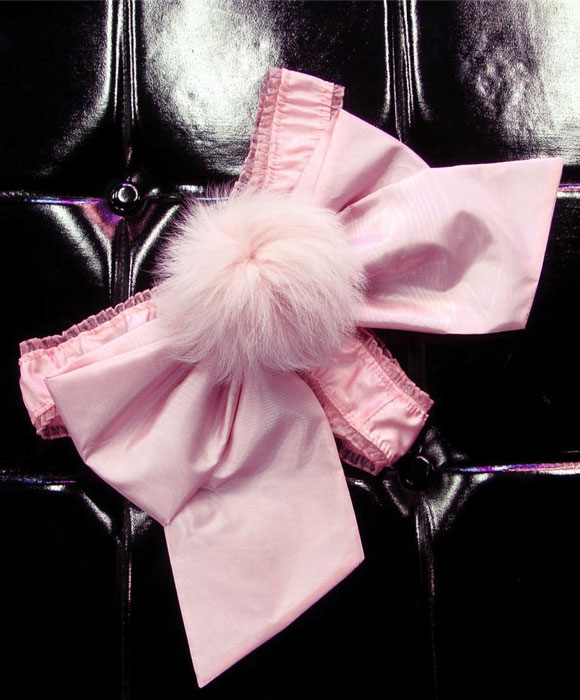 Katherina Andreeva - Down To The Rabbit Hole Pink Moire Taffeta Thong