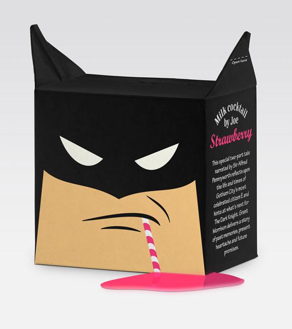 Hattamonkey - Batman milk - latte packaging