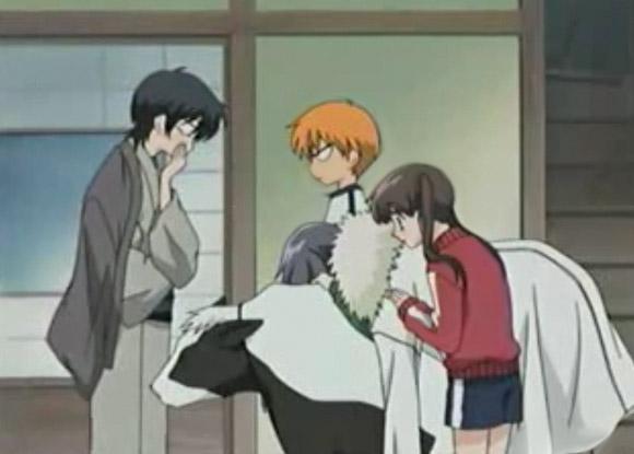 Shigure (cane\dog), Hatsuharu (bue\ox), Kyo (gatto\cat), Yuki (topo\rat), Toru Honda