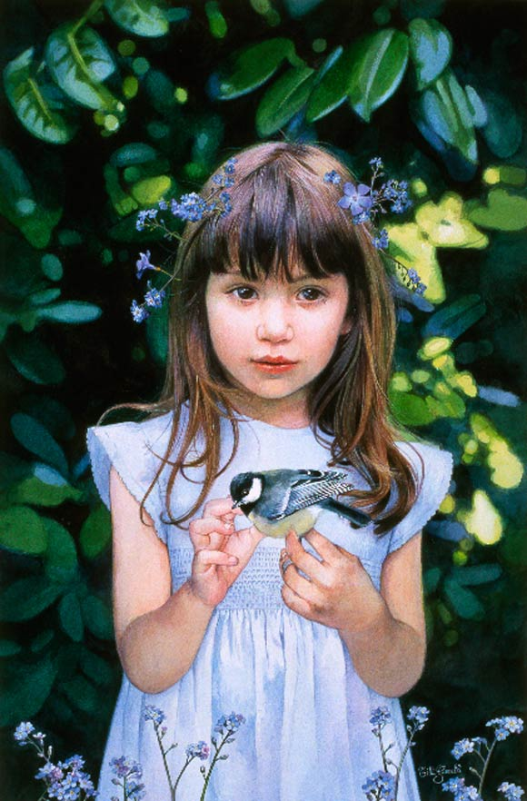 Titti Garelli - Ritratti, Bambina e Uccellino, girl and little bird
