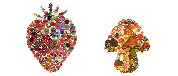 Takako Kimura, Strawberry and Mushroom, Stickers Series, 2009