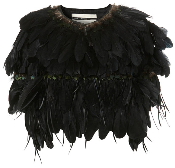 Topshop - Feather Cape - Mantella di Piume