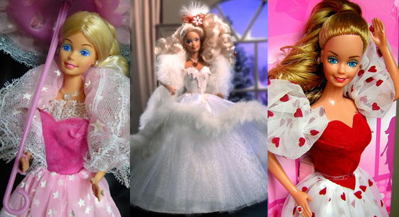Barbie Luce di Stelle / Dream Glow Barbie, 1987 - Barbie Happy Holidays, 1989 - Loving You Barbie, 1983