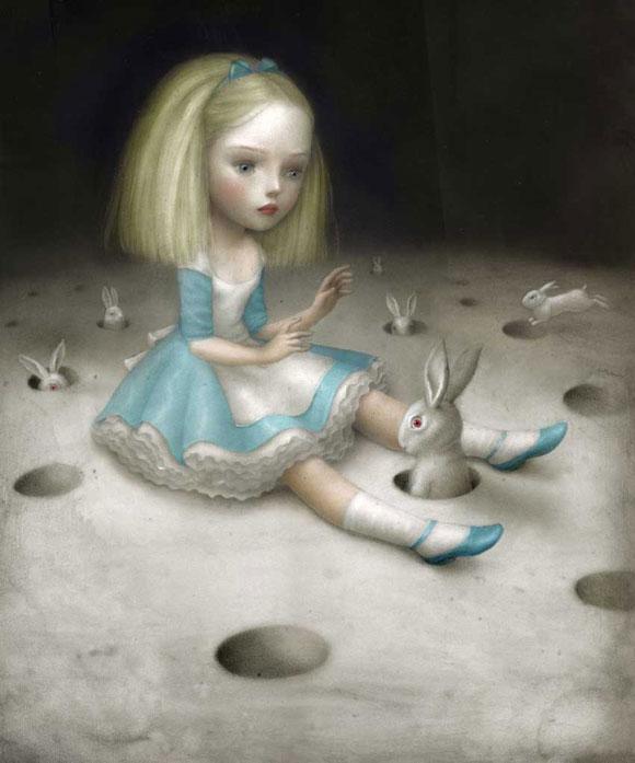 Nicoletta Ceccoli - Prova a Prendermi, Alice nel Paese delle Meraviglie Wonderland e Bianconiglio white rabbit