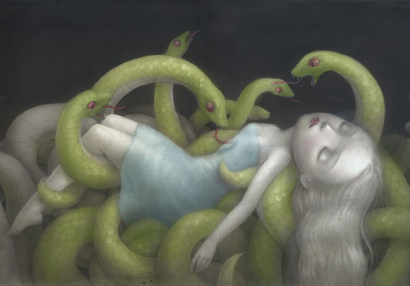 Nicoletta Ceccoli - Incubi Celesti, ragazza tra serpenti verdi, girl and green snakes