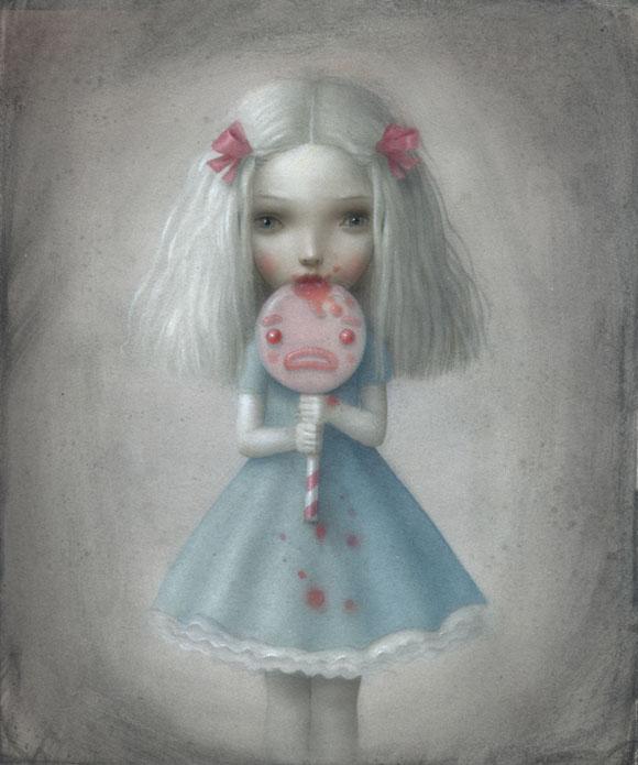 Nicoletta Ceccoli - Dolceamara, kawaii girl with lollipops, ragazza con leccalecca