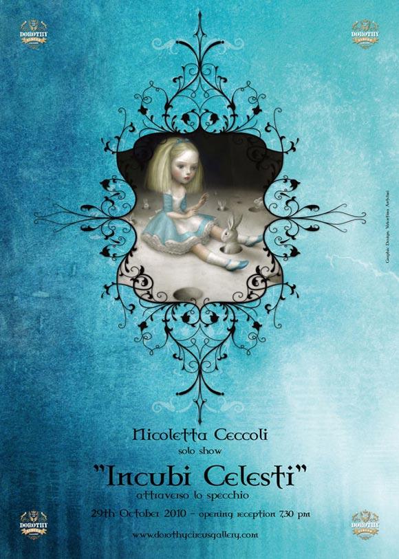 Nicoletta Ceccoli - Poster mostra exhibit Incubi Celesti, Dorothy Circus Gallery