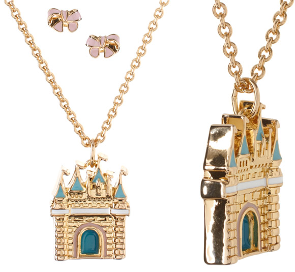 Disney Couture - 14ct Gold Plated Sleeping Beauty Castle Pendant And Bow Earrings Sets