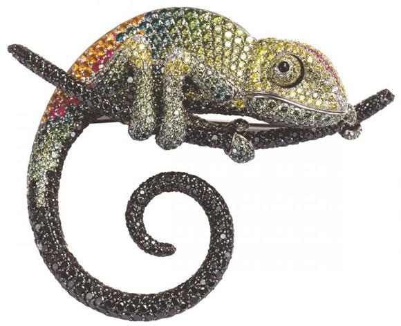Palmiero Jewellery Design - Chameleon Brooch, spilla camaleonte cristalli Swarovski
