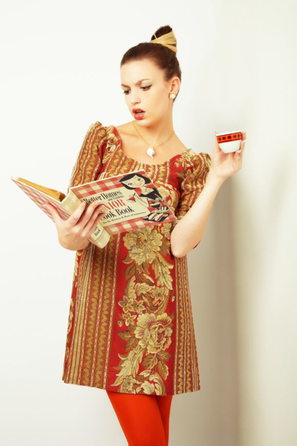 *LBD* - Tapestry II '60 baroque Dress yellow and red, abito tappezzeria barocco giallo e rosso