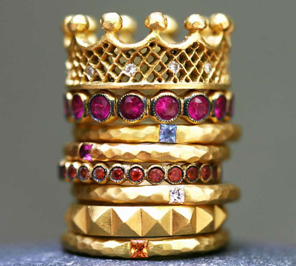 Cathy Waterman - Love of My Life Rings gold crown, anelli oro con corona