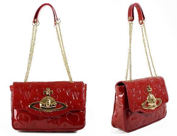 Vivienne Westwood - Ebury 4694 Bag Red, borsa rossa in vernice con corona oro