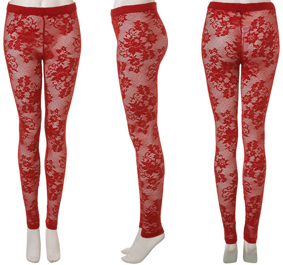 Topshop - Red Lace Leggings, leggings pizzo rosso