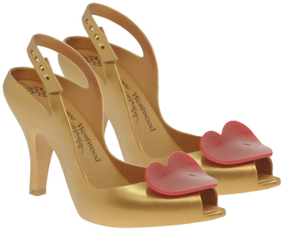 Vivienne Westwood - Anglomania For Melissa Heart Front Heeled Slingback kawaii Shoes gold with heart