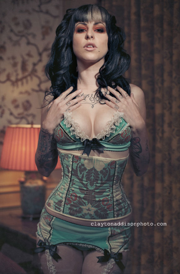 Purrfect Pineapples: Turquoise + Cream Deer, Model: Krystyn Lea, Photo by Clayton Addison