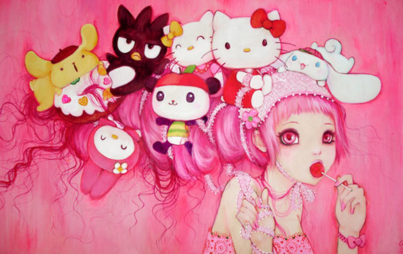 Camilla D'Errico - Hello My Kitty Land for Sanrio, kawaii girl in pink