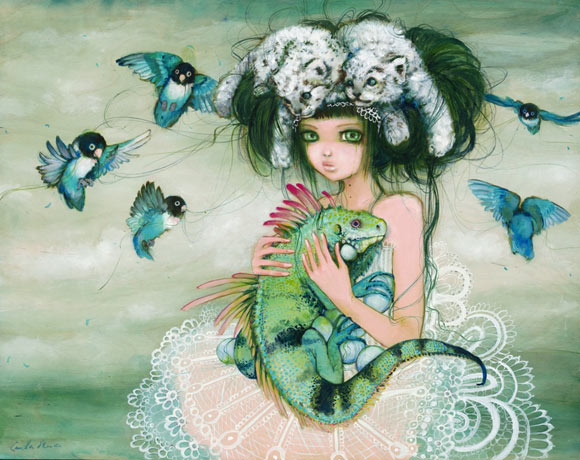 Camilla D'Errico - Iguana with kawaii girl and bird