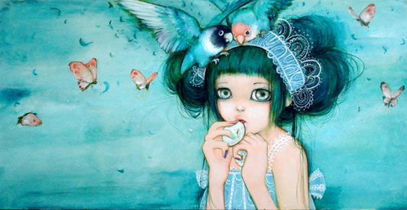 Camilla D'Errico - Love Love Hime, beautiful cute girl with birds in blue