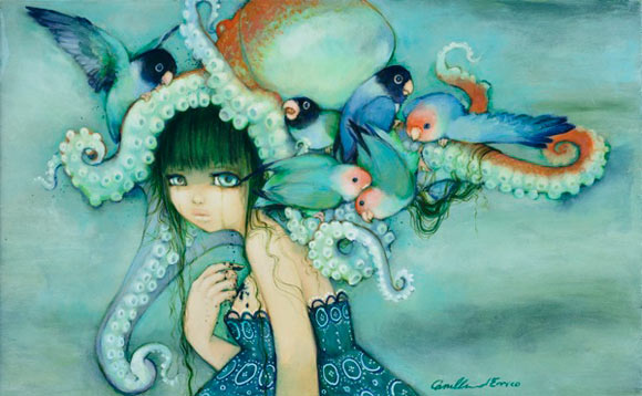 Camilla D'Errico - Loveless Bird, beautiful and sad girl with octopus in blues