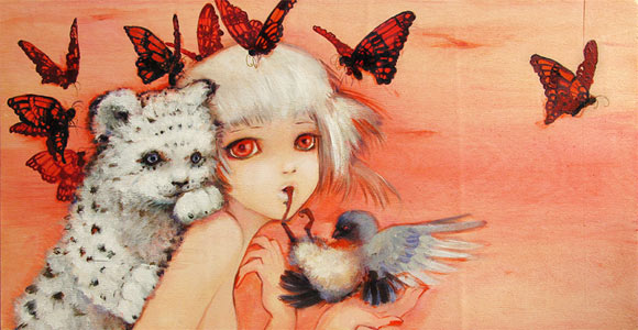 Camilla D'Errico - Suckle, kawaii cute girl with tiger, birds and butterflies