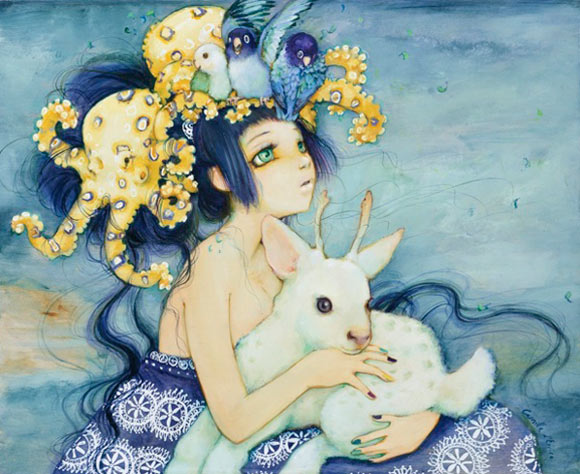 Camilla D'Errico - Rainbow Fingers, cute kawaii girl in blue with sheep and yellow octopus
