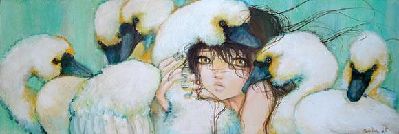 Camilla D'Errico - Weeping Swans, cute kawaii girl con cigni