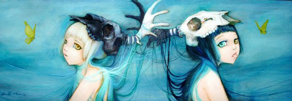 Camilla D'Errico - Upside down Mirror, cute twin girls with helmet skull in blue