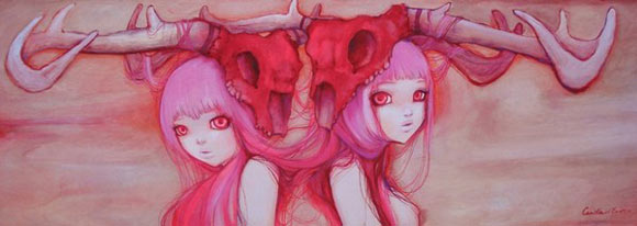 Camilla D'Errico - Pink Twin Rainbow, cute girls with helmet skull