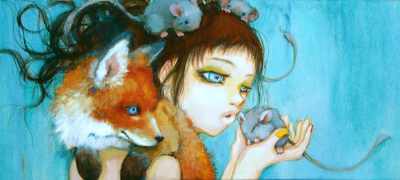 Camilla D'Errico - Frenemies, cute kawaii girl with red fox and mouse