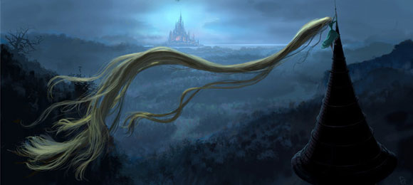 Tangled / Rapunzel - Rapunzel in the night with her long blonde hair on the tower roof , Rapunzel nella notte con i suoi lunghi capelli sul tetto della torre