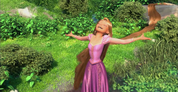 Tangled / Rapunzel - Rapunzel happy in the forest, felice nella foesta