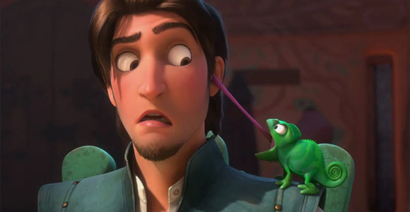 Tangled / Rapunzel - Flynn Rider (Eugene Fitzherbert) & Pascal and its long tongue, e la sua lingua lunga