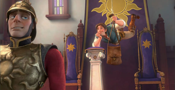 Tangled / Rapunzel - Flynn Rider (Eugene Fitzherbert) stealing the crown, mentre ruba la corona, mission impossible Tom Cruise
