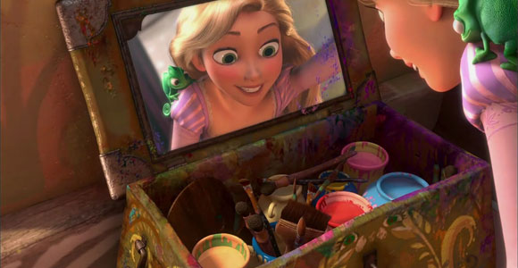 Tangled / Rapunzel - while is painting with her colors - mentre dipinge con i suoi colori