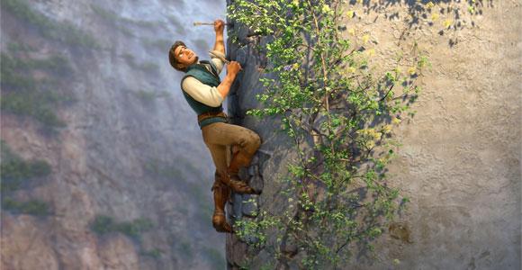 Tangled / Rapunzel - Flynn Rider (Eugene Fitzherbert) climbing the tower, metre scala la torre