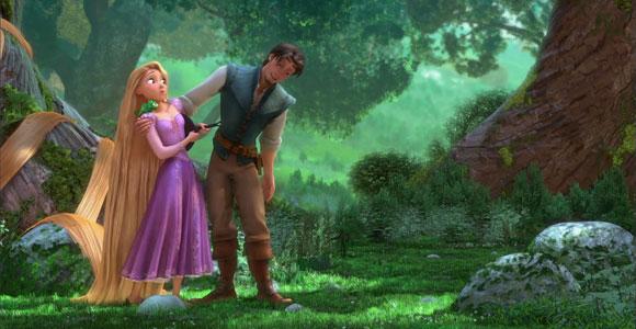 Tangled / Rapunzel - Pascal, Rapunzel, Flynn Rider (Eugene Fitzherbert) in the forest, nella foresta
