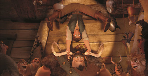 Tangled / Rapunzel - Flynn Rider (Eugene Fitzherbert) upside down in the tavern, all'ingiù nella taverna