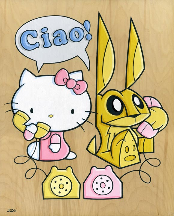 Joe Ledbetter - Ciao, hello kitty and bunny coniglio kawaii illustration