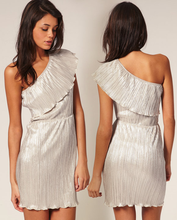 ASOS - Foil Pleated Asymmetric Frill Dress silver, vestito argento monospalla
