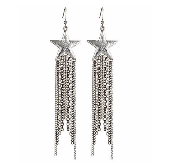 Blu Bijoux - Silver Star and Chains Earrings, orecchini d'argento con stella