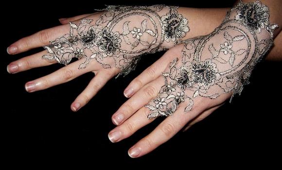 Angelika Liv - Stars Sparkle Organza Lace Cuffs, guanti di pizzo