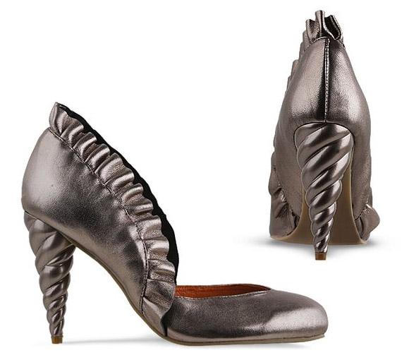 Jeffrey Campbell - Michelle silver shoes with unicorn horn, scarpe argento con corno di unicorno