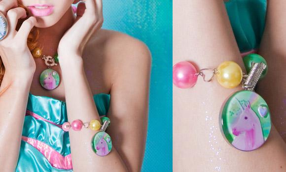 Locketship - Unicorn Princess cute Necklace and Bracelet, gioielli con unicorni kawaii