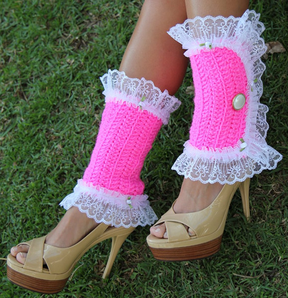 Mademoiselle Mermaid - pink Lacy Lady Victorian Leg Warmers, ghette fucsia kawaii