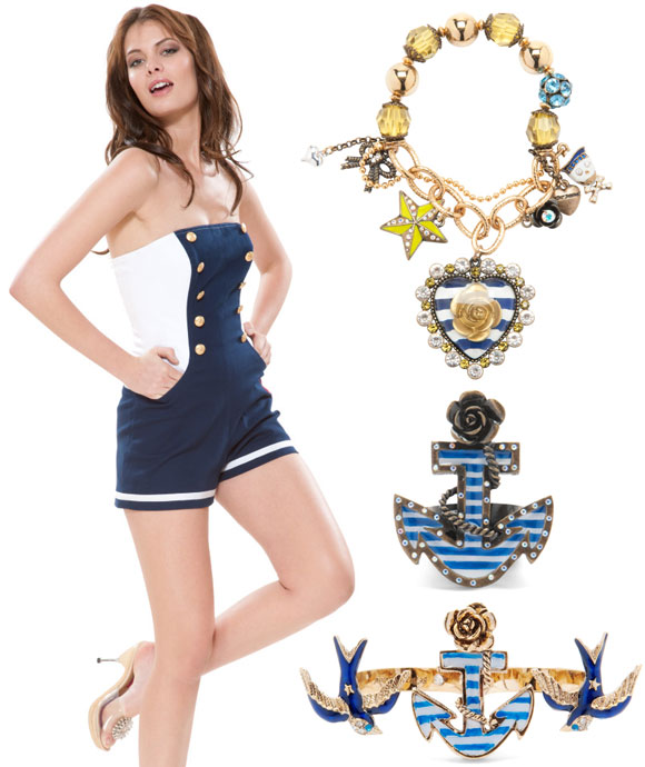 Betsey Johnson - Sailor Twill Jumper, Blue Heart Charms Stretch Bracelet, 3finger Anchor Bird Ring, Anchor Ring
