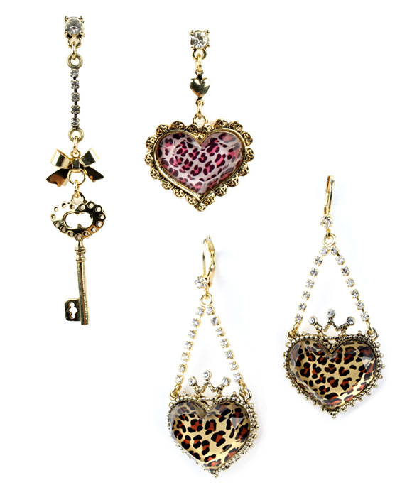Betsey Johnson - Leopard Mismatch Crystal Heart Key Earrings, Leopard Crystal Crown Heart Earrings