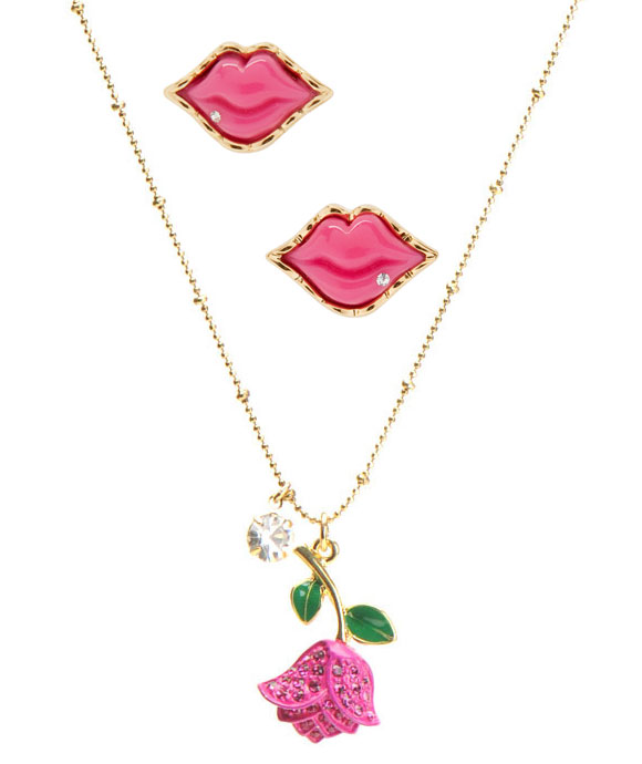 Betsey Johnson - Lips Studs, Single Tulip Necklace