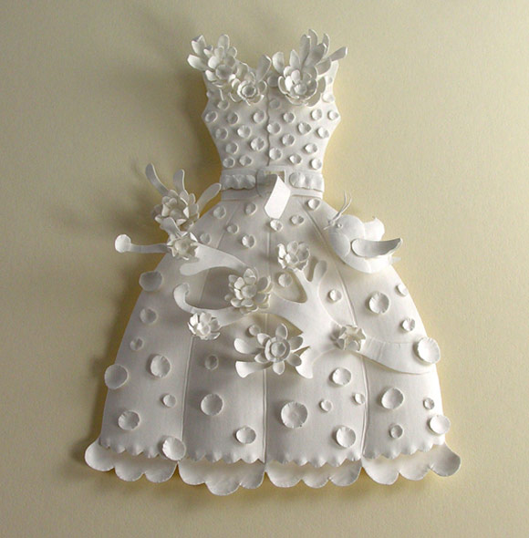 Elsa Mora - Paper Sculptures and Papercuts, Dress With Branch and Bird, Abito con Ramo e Uccello