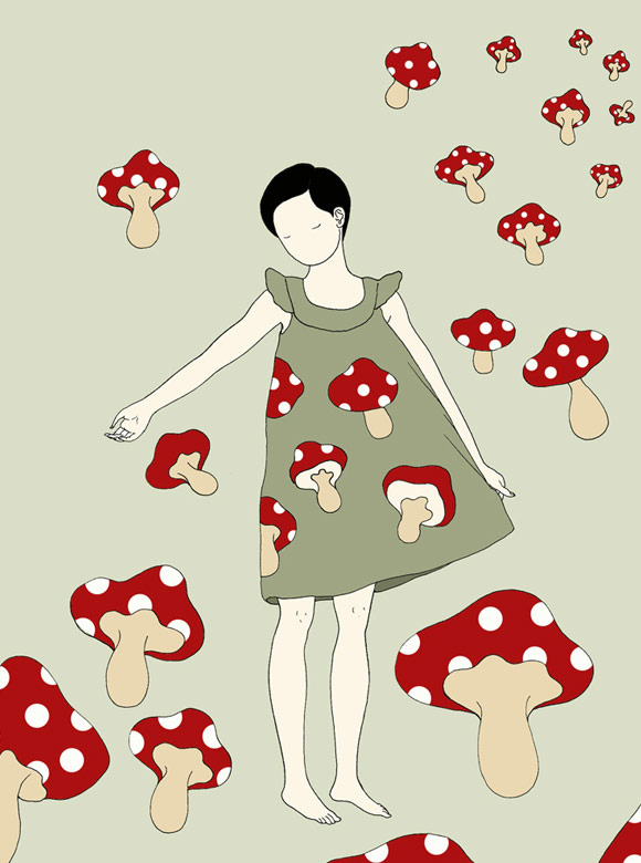 Elsa Mora - Zen Girl with mushroom, Ragazza Zen con Funghi