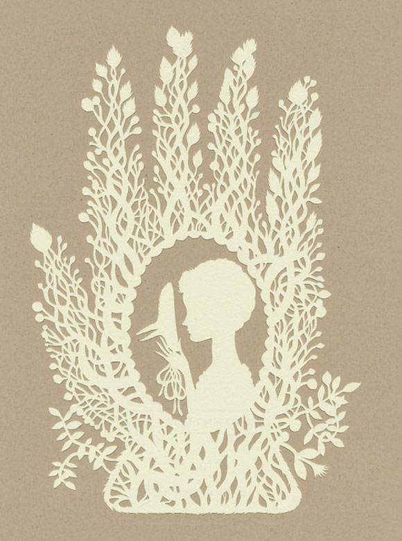 Elsa Mora - Bird Mask Papercut, Mascera di Uccello scultura di carta